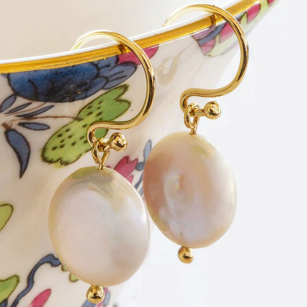 """Little Lovelies"" Freshwater Coin Pearl Yellow Gold Earrings"