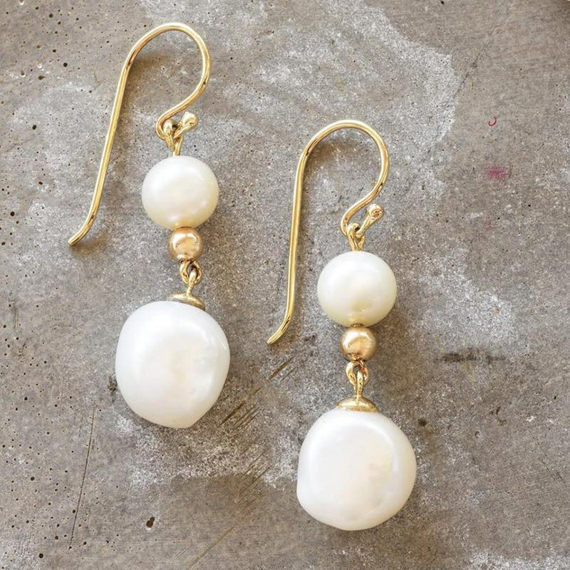 """Socialite"" Freshwater Pearl Double Drop Yellow Gold Earrings - Revelations Boutique"