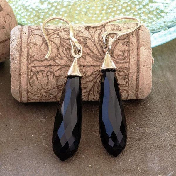 """Velvet Room"" Briolette Cut Black Onyx Yellow Gold Earrings - Revelations Boutique"