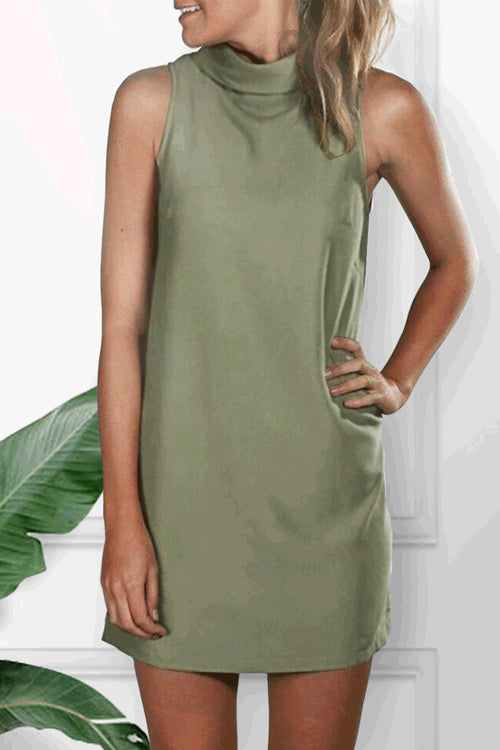 Dresslim Turtleneck Army Green Mini Dress