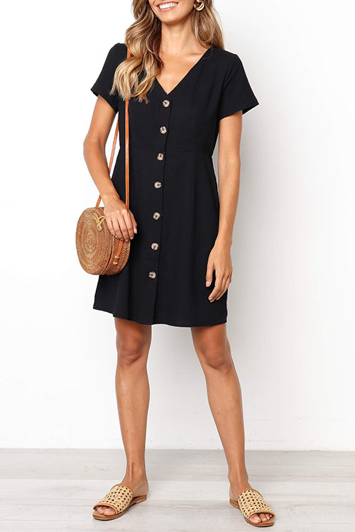 Dresslim Buttons Decorative Mini Dress