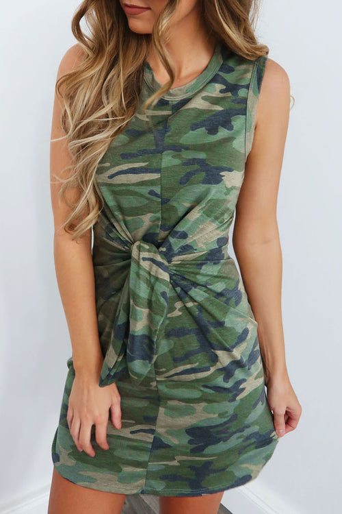 Dresslim Camouflage Printed Knot Design Dress(3 Colors)