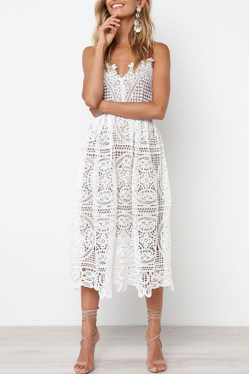 Dresslim Hollow-out Lace Midi Dress