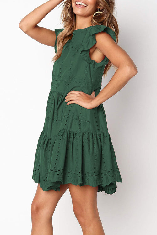 Dresslim Hollowed-out Ruffle Dress(Nonelastic)