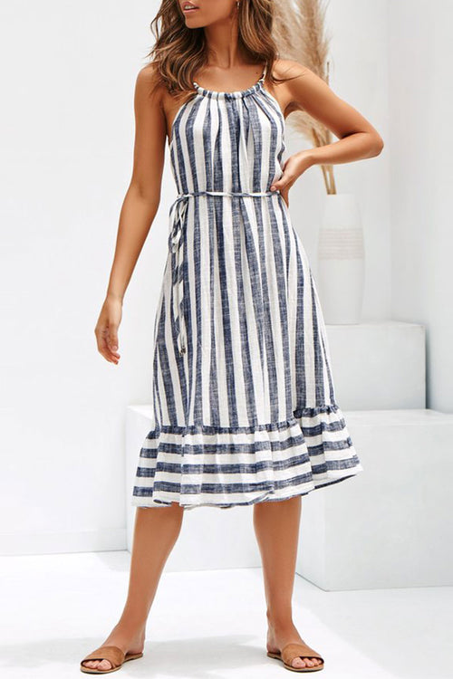 Dresslim Striped Patchwork Dress(With Belt)