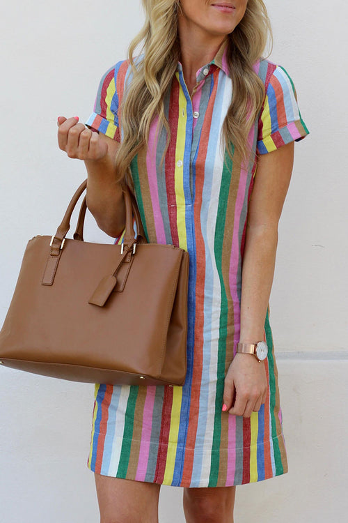 Dresslim Rainbow Striped Straight Dress(Nonelastic)