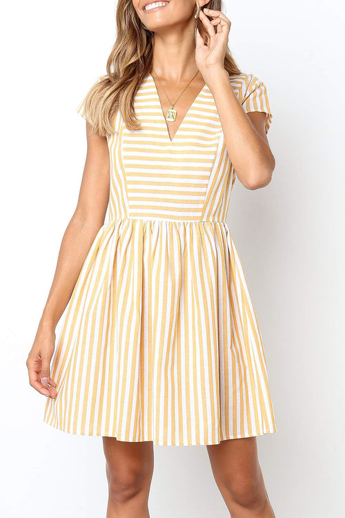 Dresslim Striped Mini Dress(Nonelastic)