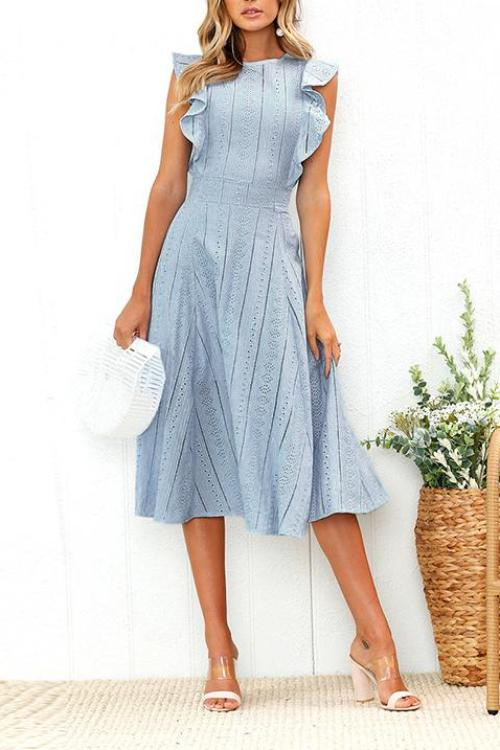 Dresslim Elegant Round Neck Flounce Design Mid Calf Dress
