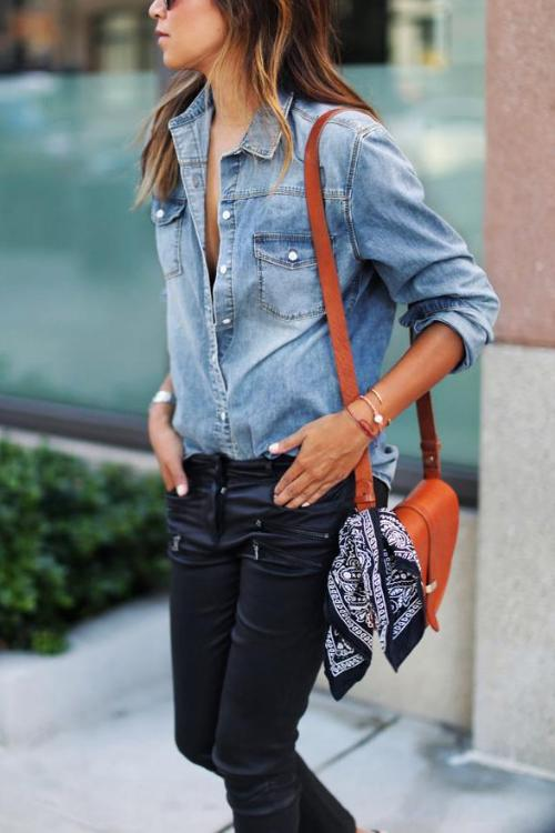 Dresslim  Button Down Denim Blouses