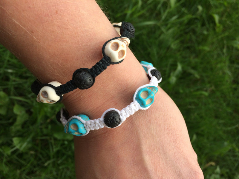 Essential Oil Diffusing Skull Bracelets - Hemp Winnipeg