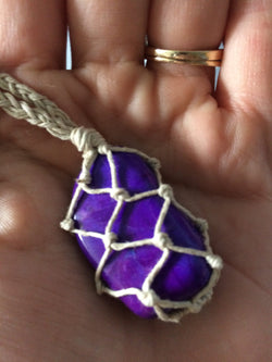 Purple Magnesite Hemp Wrapped Necklace - Hemp Winnipeg