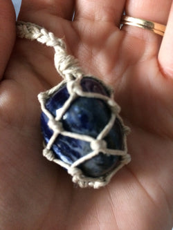 Sodalite Hemp Wrapped Necklace - Hemp Winnipeg