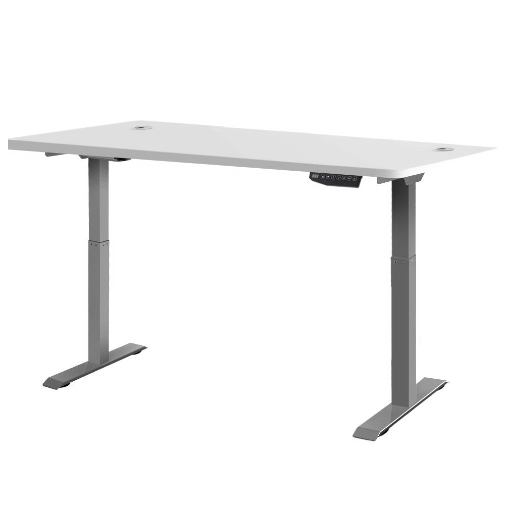 Electric Motorised Height Adjustable Standing Desk - Grey Frame with 160cm White Top