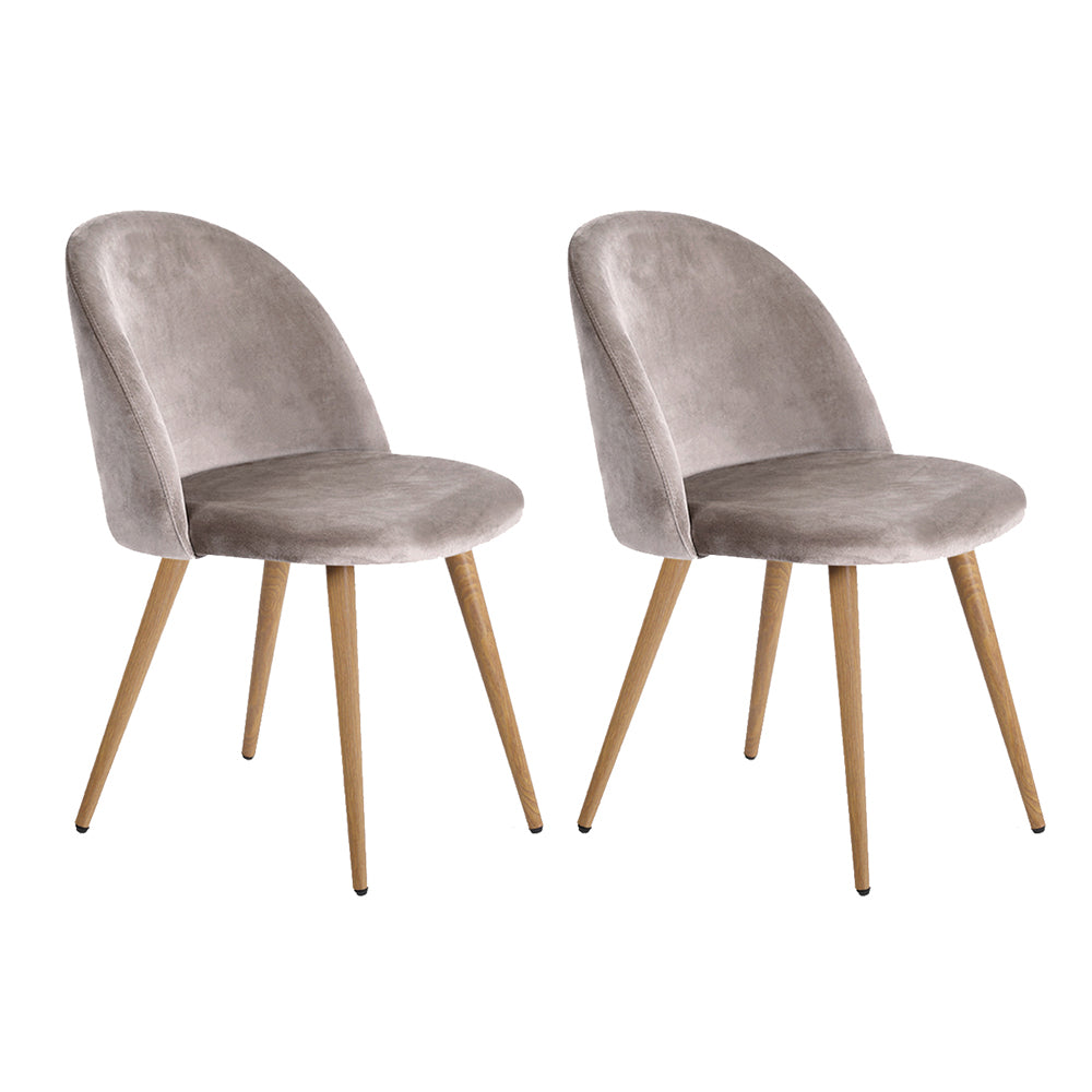 Artiss Set of Two Velvet Modern Dining Chair - Light Grey