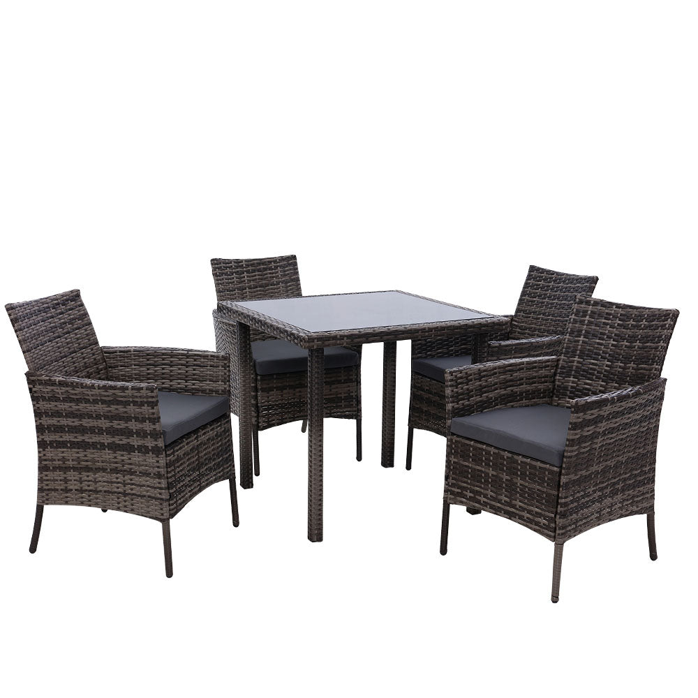 Outdoor Dining Set Patio Furniture Wicker Chairs Table Mixed Grey 5PCS