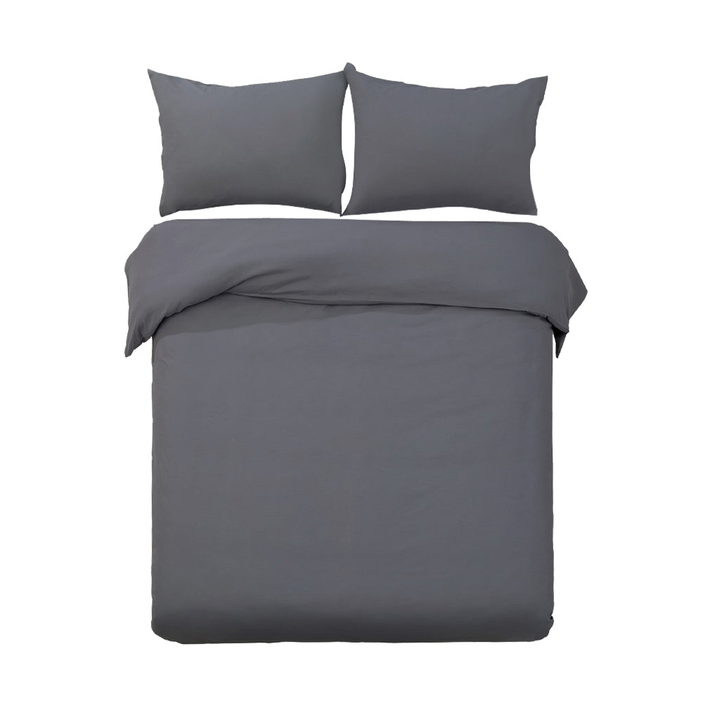 Giselle Bedding Queen Size Classic Quilt Cover Set - Charcoal