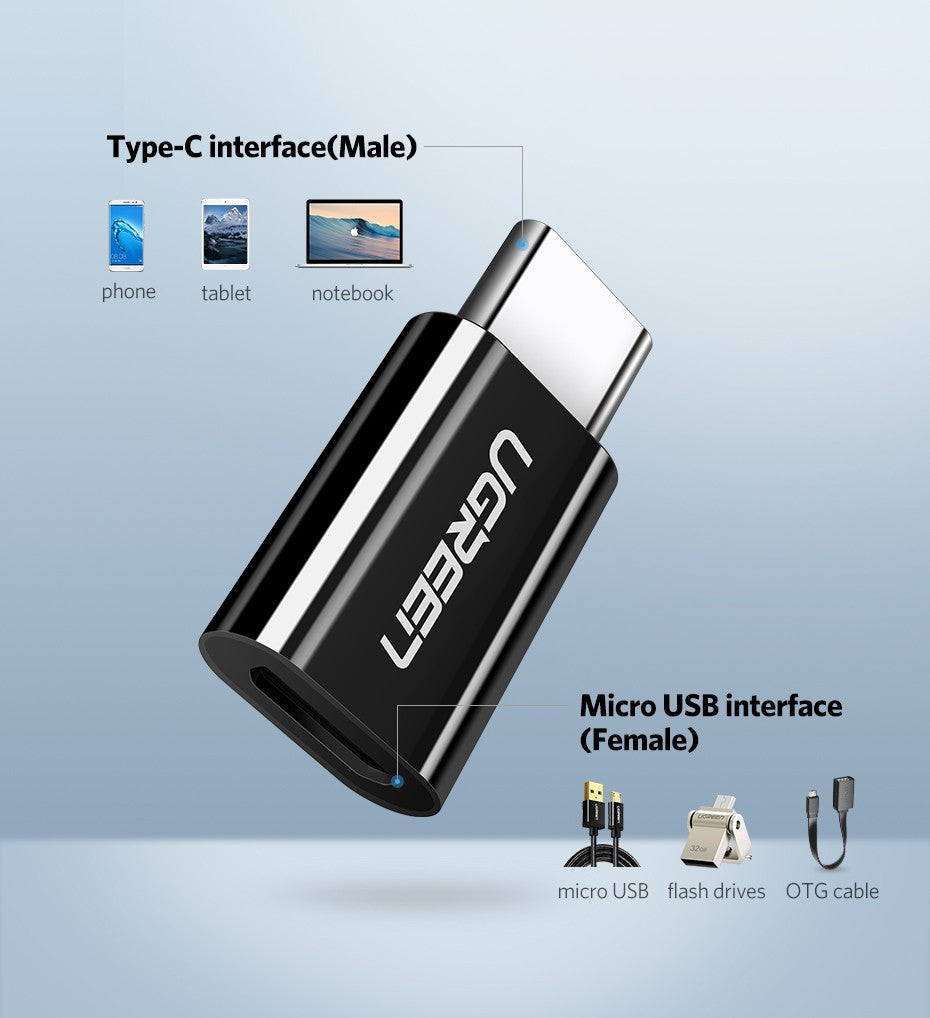 UGREEN USB 3.1 Type-C to Micro USB Adapter - Black (30865)