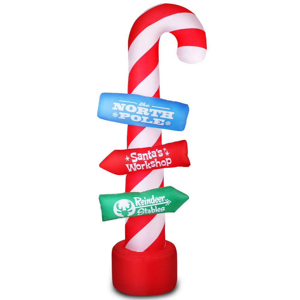 Jingle Jollys 2.4M Christmas Inflatable Santa Guide Candy Pole Xmas Decor LED