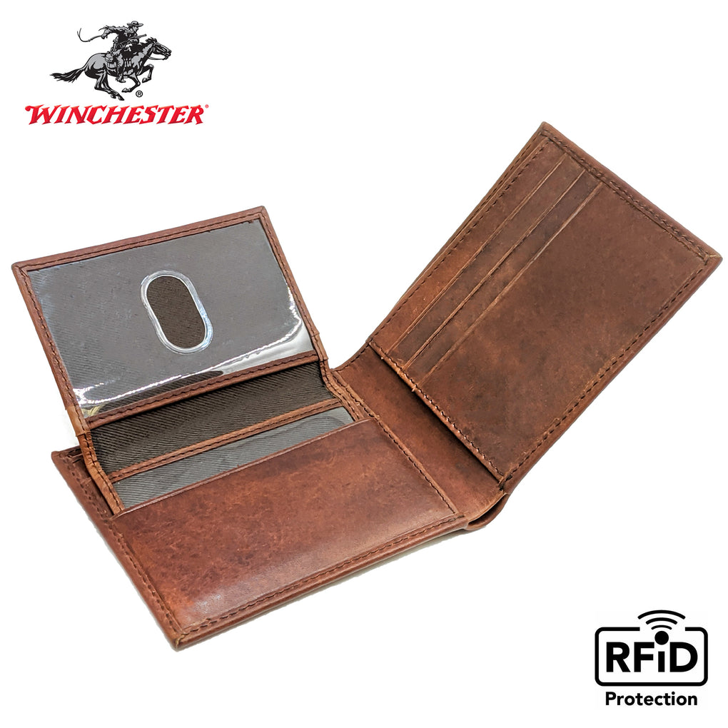 Winchester - Little Dallas Brown Passcase, RFID Men's Wallet - New York Belt Corp