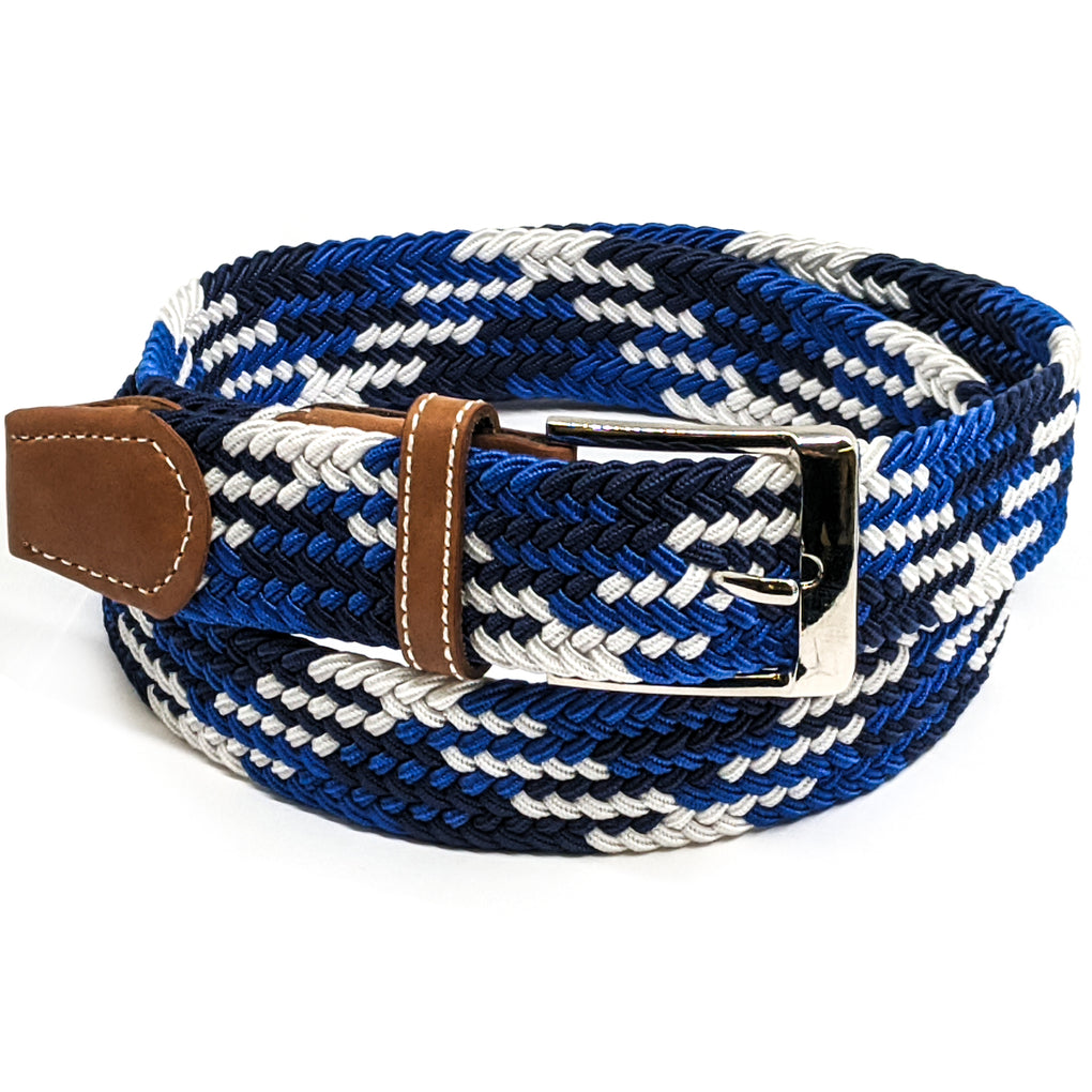 Anchor21 Mens Fabric Belt, Elastic Fabric Woven Stretch Multicolored Braided Webbing Belts,