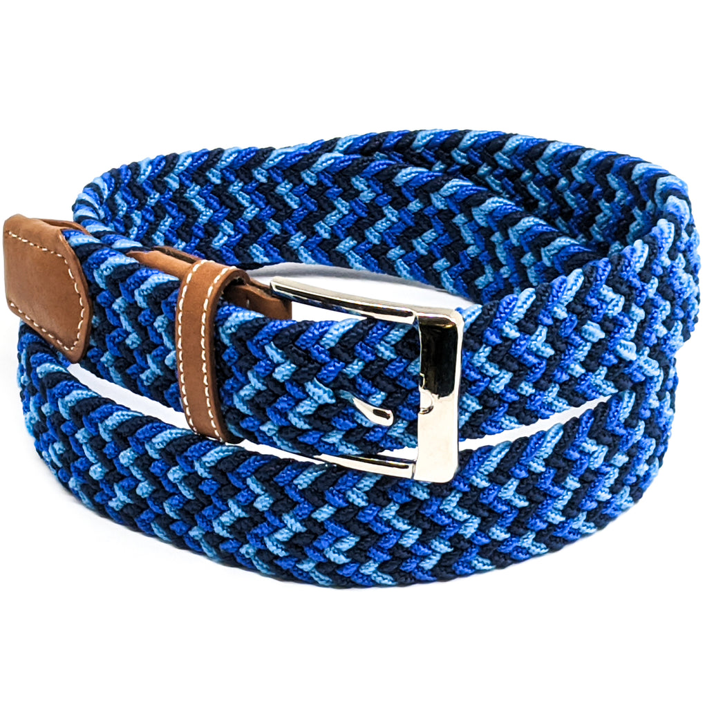 Anchor21 Mens Fabric Belt, Elastic Fabric Woven Stretch Multicolored Braided Webbing Belts