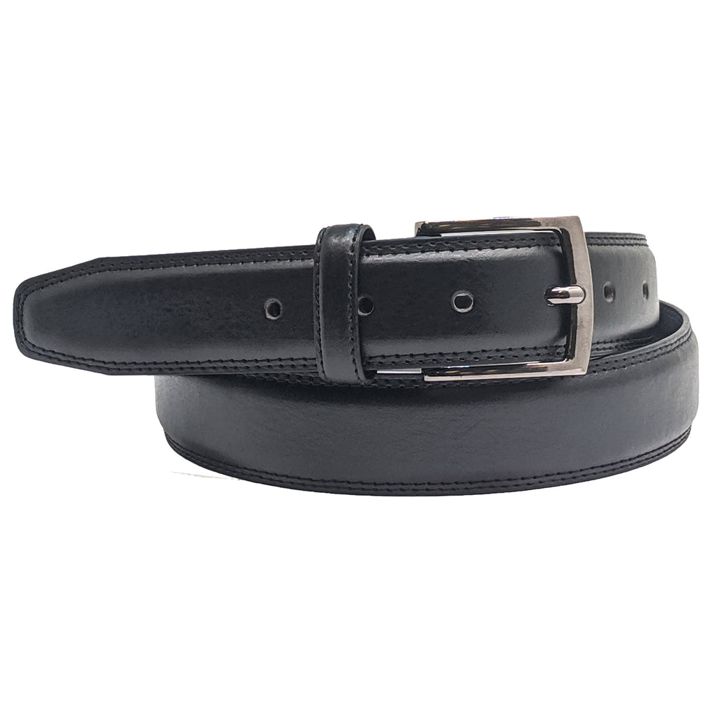 Anchor21 Derrick Mens Belt Double Stitched Belt with Brushed Gunmetal Buckle - New York Belt Corp