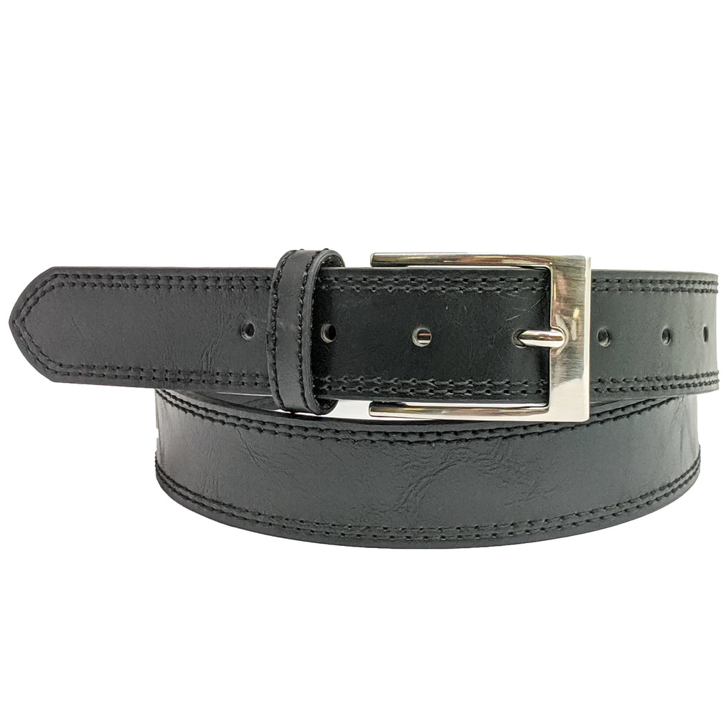 Anchor21 Furl Mens Belt Double Stitched Belt with Brushed Nickel Buckle - New York Belt Corp