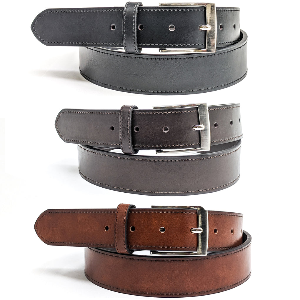 Anchor21 Kelson Mens Belt, Stitched and Polished Nickel Buckle - New York Belt Corp