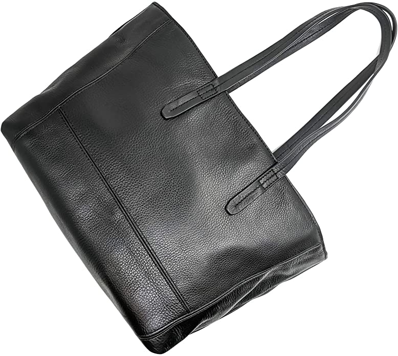 Genuine Leather Women's Anchor21 Havilah Full-Grain Leather Black Shopper Tote Versatile Handbag