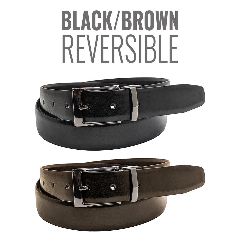 Anchor21 Matelot Mens Reversible Belt Black / Brown 35 MM, Brushed Nickel Buckle - New York Belt Corp