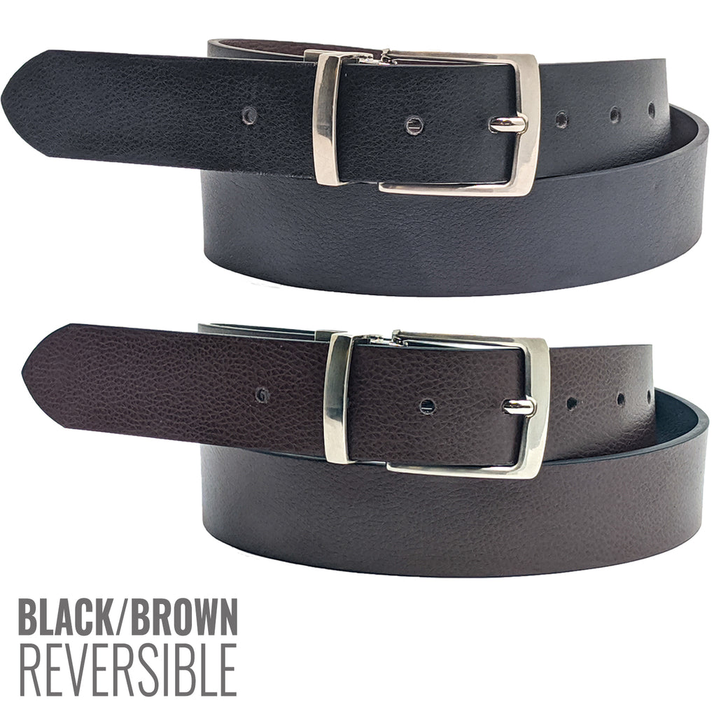 Anchor21 Parrel Mens Reversible Belt Black / Brown 35 MM, Brushed Nickel Buckle - New York Belt Corp