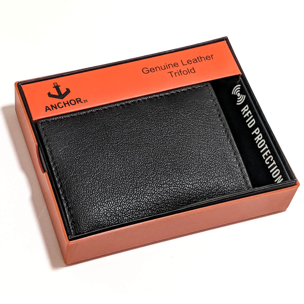 Anchor21 - Trifold Genuine Leather RFID Men's Wallet