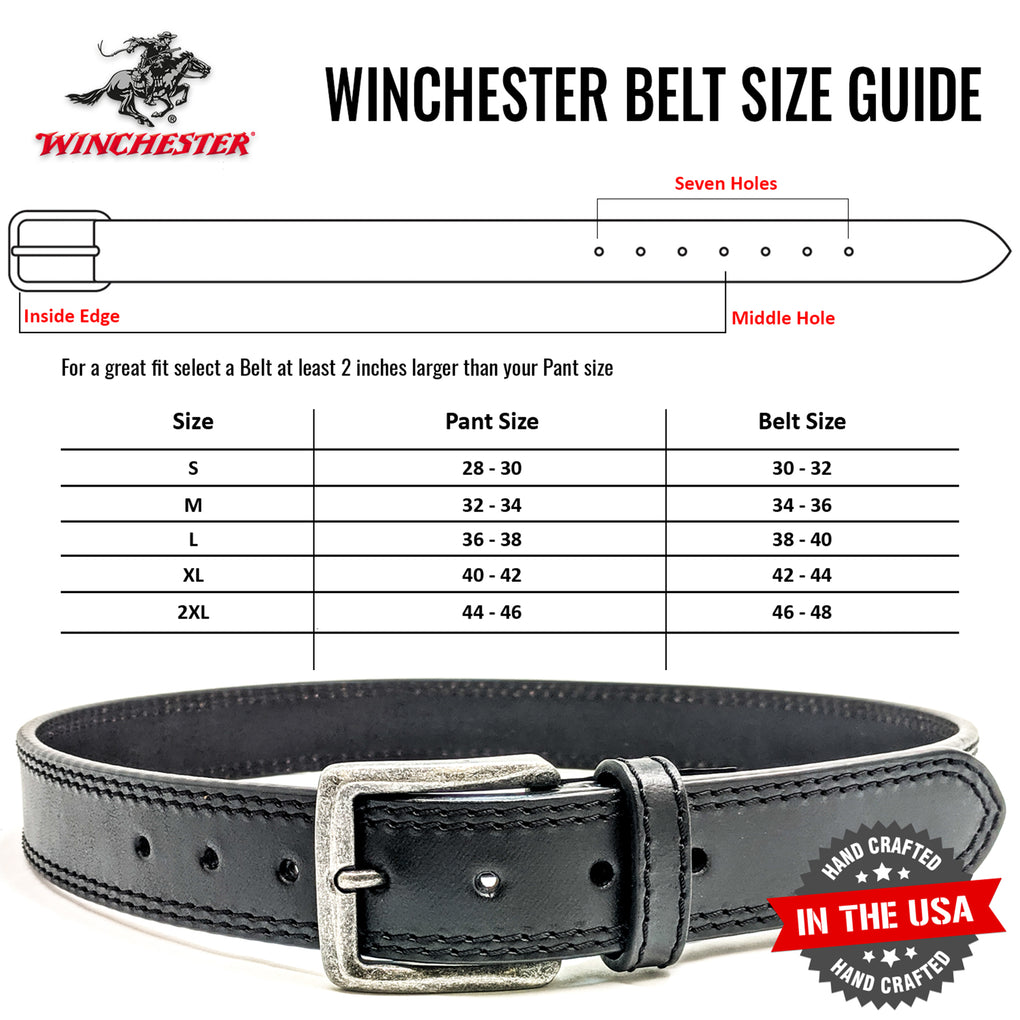 Winchester Concealed Carry Belt CCW, 14 Oz Full Grain Leather Tactical Gun Belt