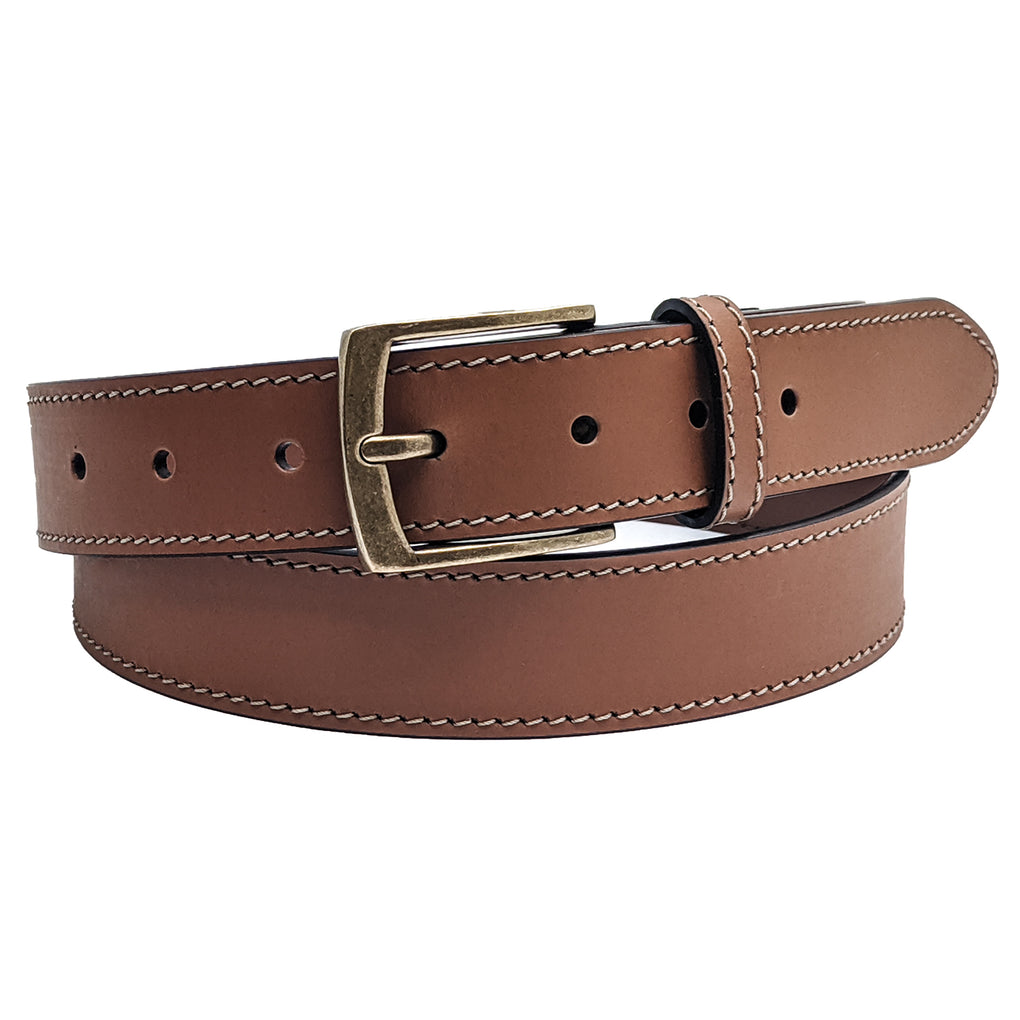 Winchester Carlton Mens Belt Leather, Stitched 32mm width - New York Belt Corp