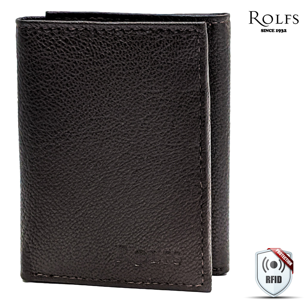 Rolfs Mens Trifold Wallet RFID Blocking with ID Window, Genuine Leather, 4