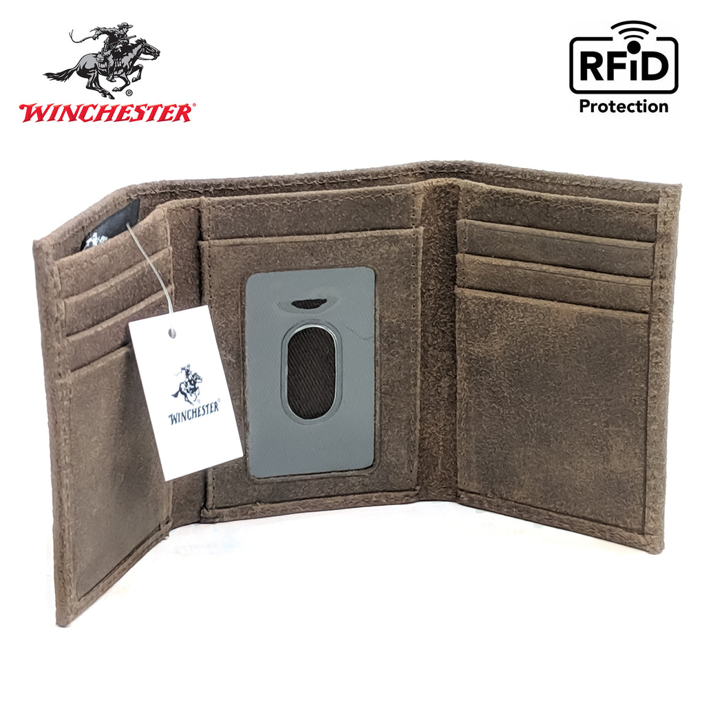 "Winchester Little Amarillo Men's Trifold Full-Grain Leather RFID Wallet with ID Window, 3.75"" x 3"", Brown"
