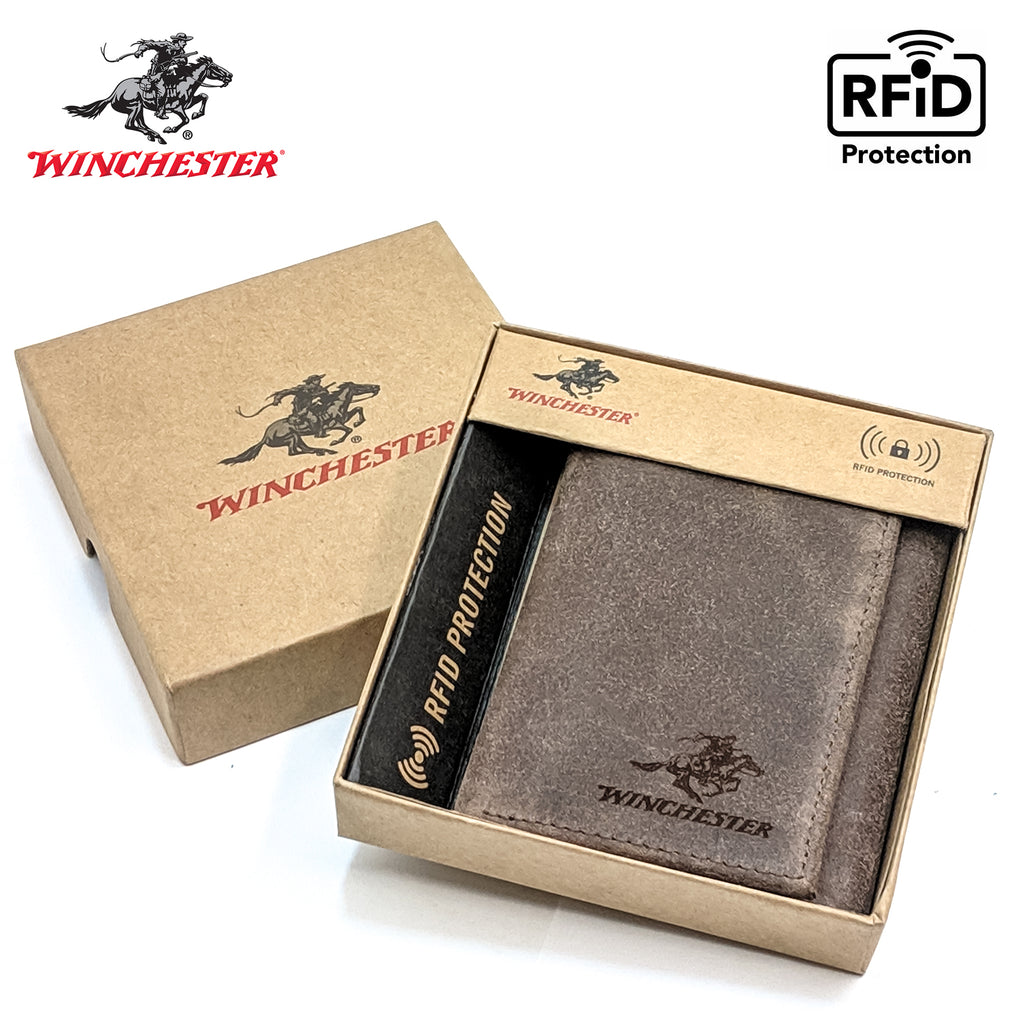 Winchester Little Amarillo Men's Trifold Full-Grain Leather RFID Wallet with ID Window