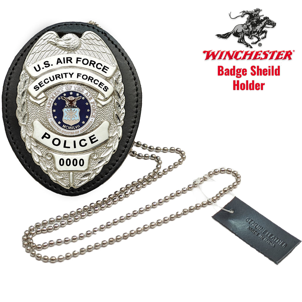 Winchester Police Badge Holder with Chain and Belt Clip Universal, Leather Black