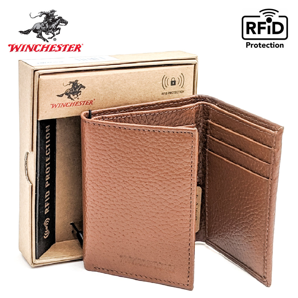 Winchester - Lubbock Black & Brown Trifold, RFID Men's Wallet - New York Belt Corp