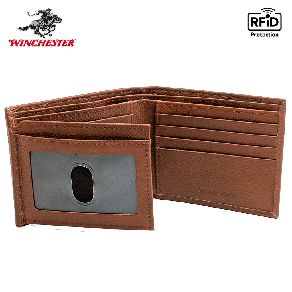 Winchester Bifold Passcase Men's Wallet RFID Multiple Card Case Genuine Leather
