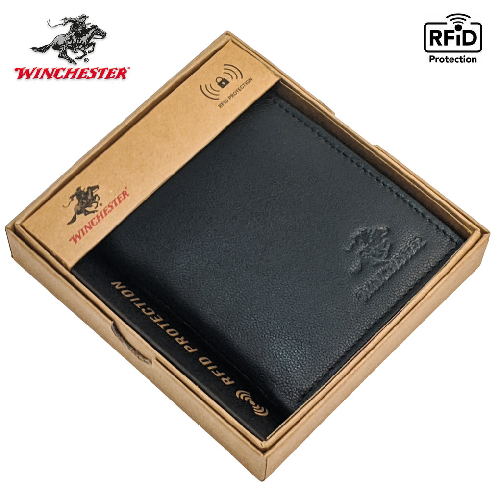 Winchester Police Badge Wallet Bifold RFID Blocking Full Grain Genuine Leather