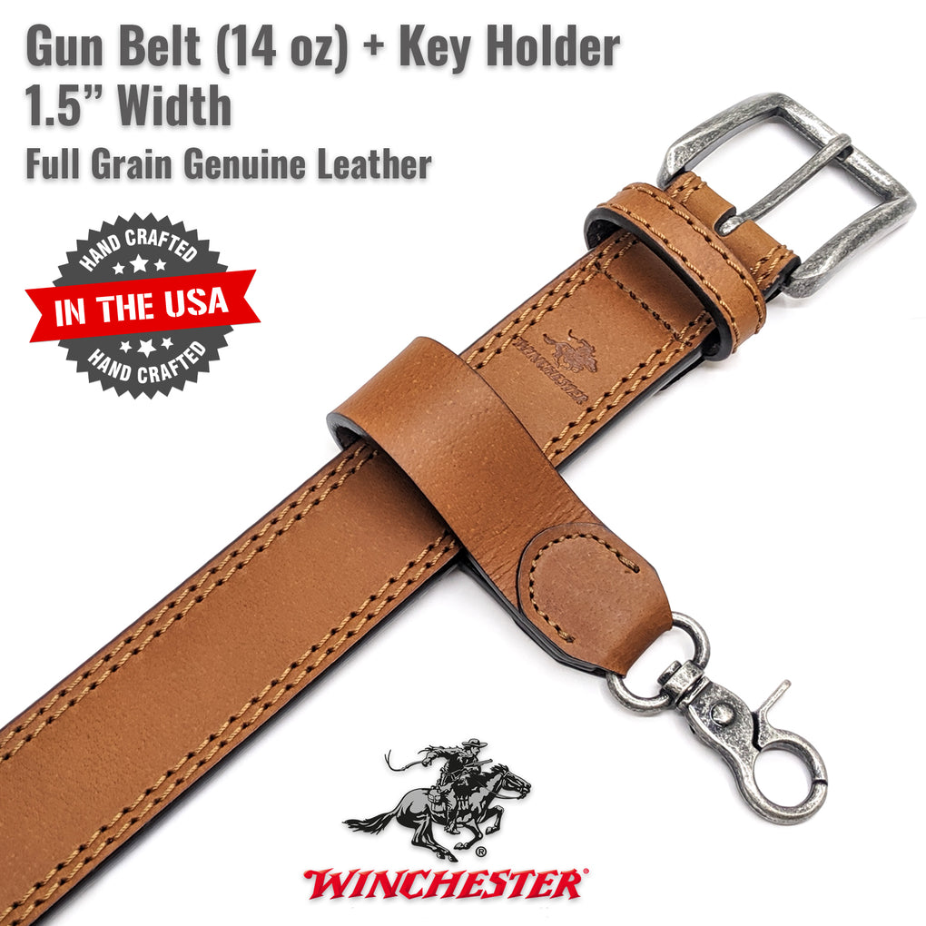 Winchester Gun Belt + Key Holder Hand Made in USA 14 oz Heavy Duty Leather 1.5