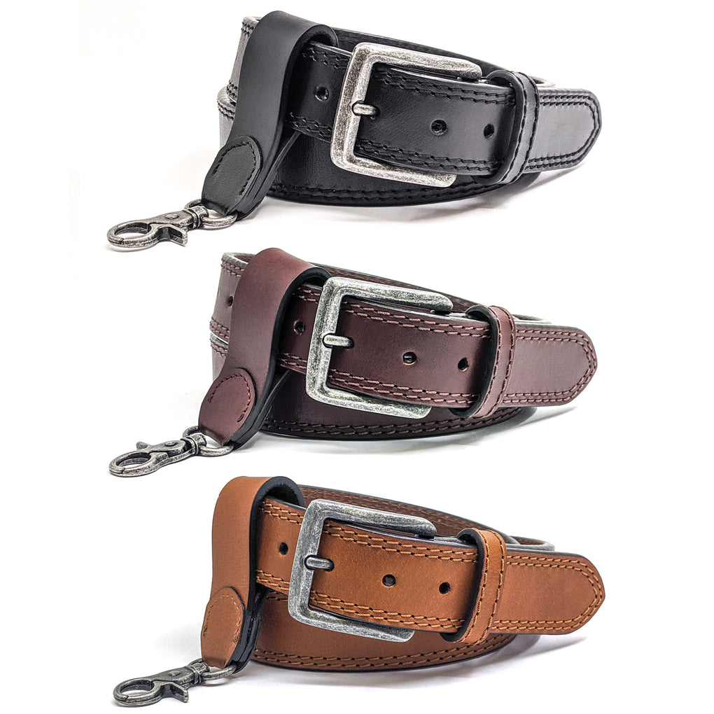 Winchester Mens Gun Belts + Key Holder Hand Made in USA 14 oz Heavy Duty Leather 1.5