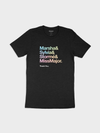 "heather black t-shirt featuring the text ""Marsha & Sylvia & Stormé & Miss Major"" with a heart symbol used for the period, and the text ""thank you."" below it, all in a sans serif text in a rainbow color gradient."