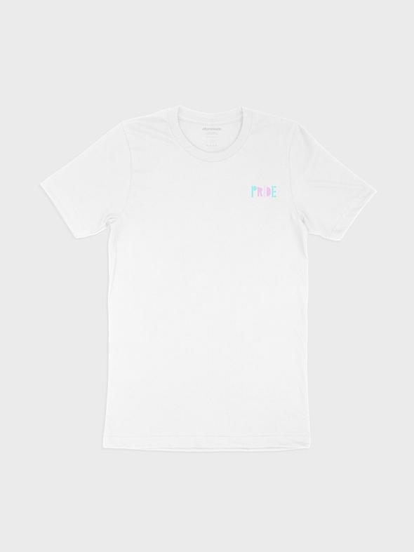 "white t-shirt featuring a left-breast area patch-print design with the text ""PRIDE"" in blue, pink and white colors, in a fun playful font."