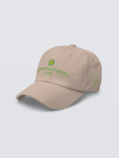 Horticultural Lad Embroidered Cap in Stone Angle View - Alt Pronouns