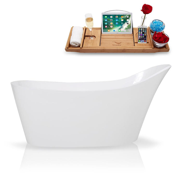 "65"" Streamline Solid Surface Resin K-0907-65FSWHSS-FM Soaking Freestanding Tub and Tray with Internal Drain"