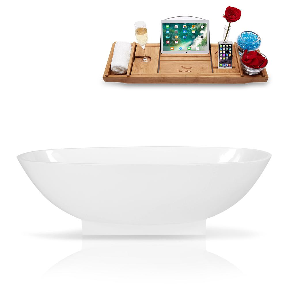 "68"" Streamline Solid Surface Resin K-1009-68FSWHSS-FM Soaking Freestanding Tub and Tray with Internal Drain"