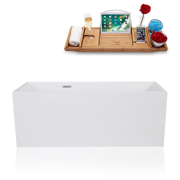"59"" Streamline Solid Surface Resin K-1169-59FSWHSS-FM Soaking Freestanding Tub and Tray with Internal Drain"