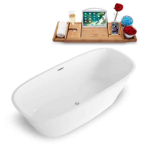 "67"" Streamline Solid Surface Resin K-1486-67FSWHSS-FM Soaking Freestanding Tub and Tray with Internal Drain"